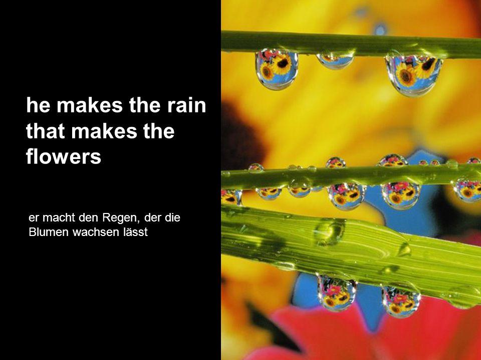 he makes the rain that makes the flowers er macht den Regen, der die Blumen wachsen lässt