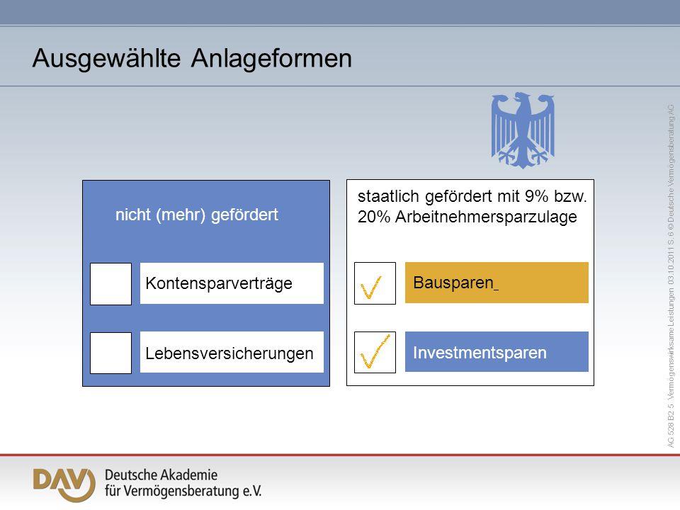 AG 528 B2 5 Vermögenswirksame Leistungen 03.10.2011 S. 6 © Deutsche Vermögensberatung AG Lebensversicherungen Kontensparverträge nicht (mehr) geförder