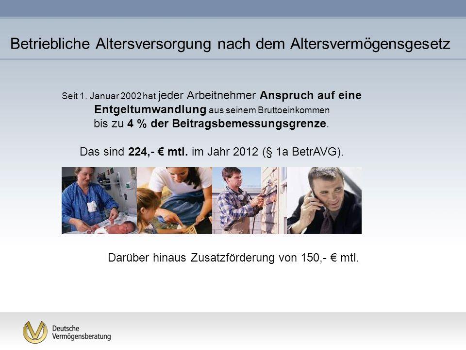 Betriebliche Altersversorgung nach dem Altersvermögensgesetz Seit 1. Januar 2002 hat jeder Arbeitnehmer Anspruch auf eine Entgeltumwandlung aus seinem