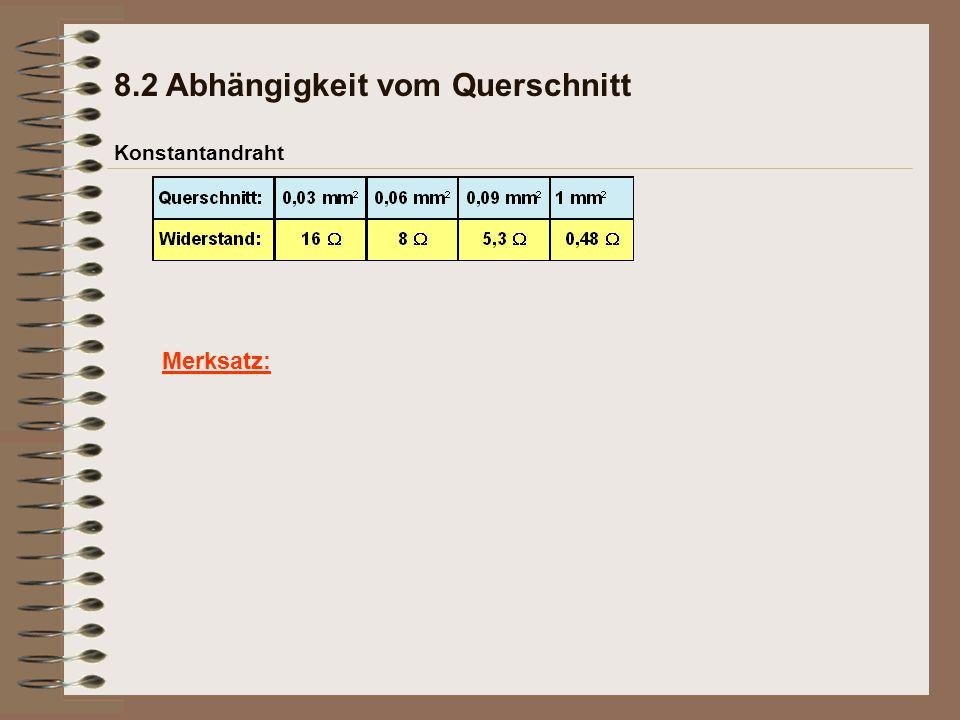 Merksatz: Konstantandraht 8.2 Abhängigkeit vom Querschnitt