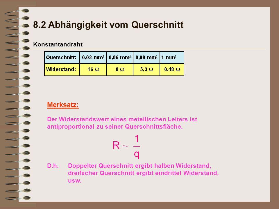 Merksatz: Konstantandraht 8.2 Abhängigkeit vom Querschnitt Doppelter Querschnitt ergibt halben Widerstand, dreifacher Querschnitt ergibt eindrittel Widerstand, usw.