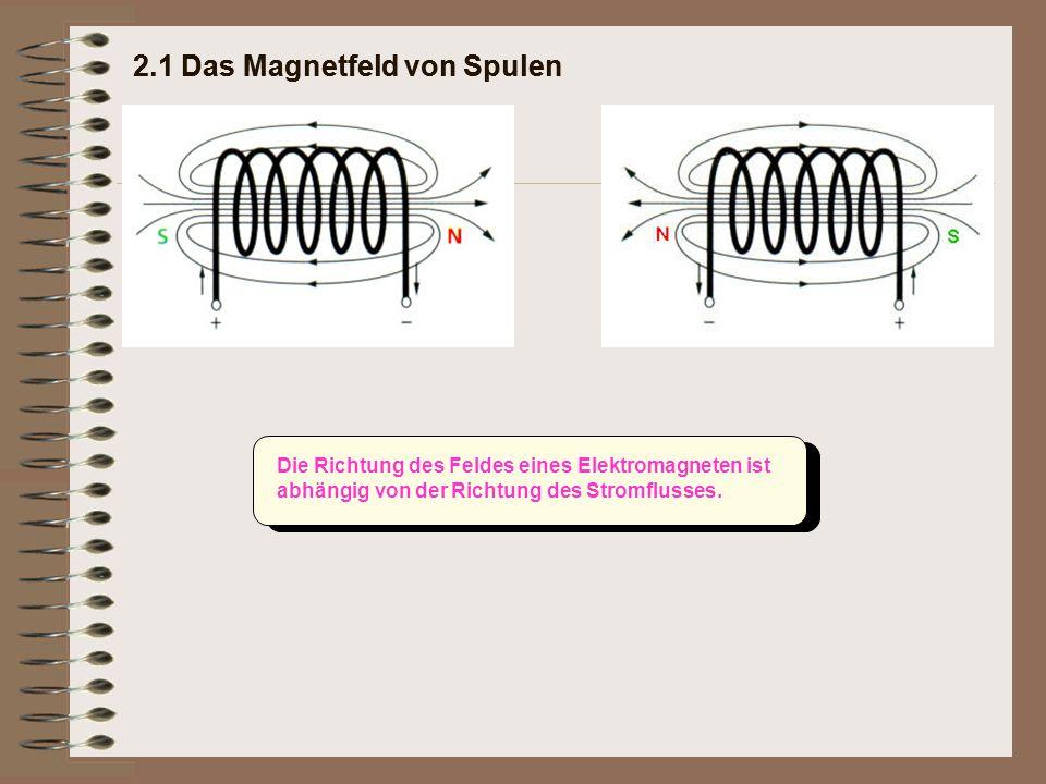 Die Richtung des Feldes eines Elektromagneten ist abhängig von der Richtung des Stromflusses.