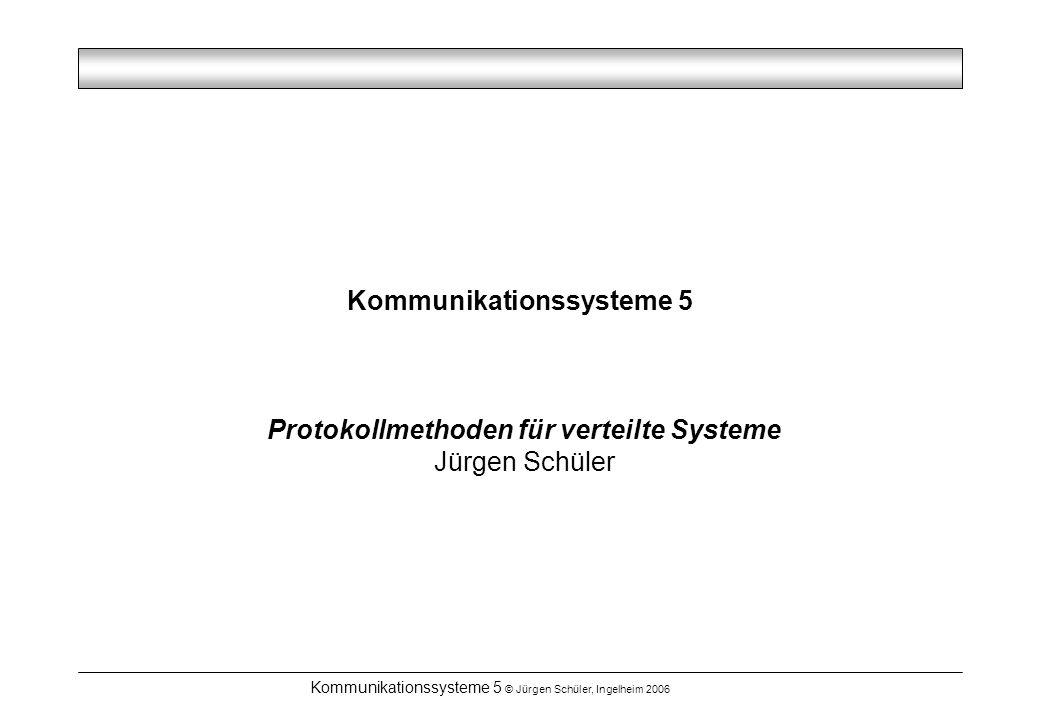 Kommunikationssysteme 5 © Jürgen Schüler, Ingelheim 2006 Verteilte Systeme - Eigenschaften Störungen sind nicht vollständig verdeckbar: –Beispiel: Konsens unter Fristsetzung ist in absolut zuverlässiger Weise nicht möglich Jürgen Schüler Prof.