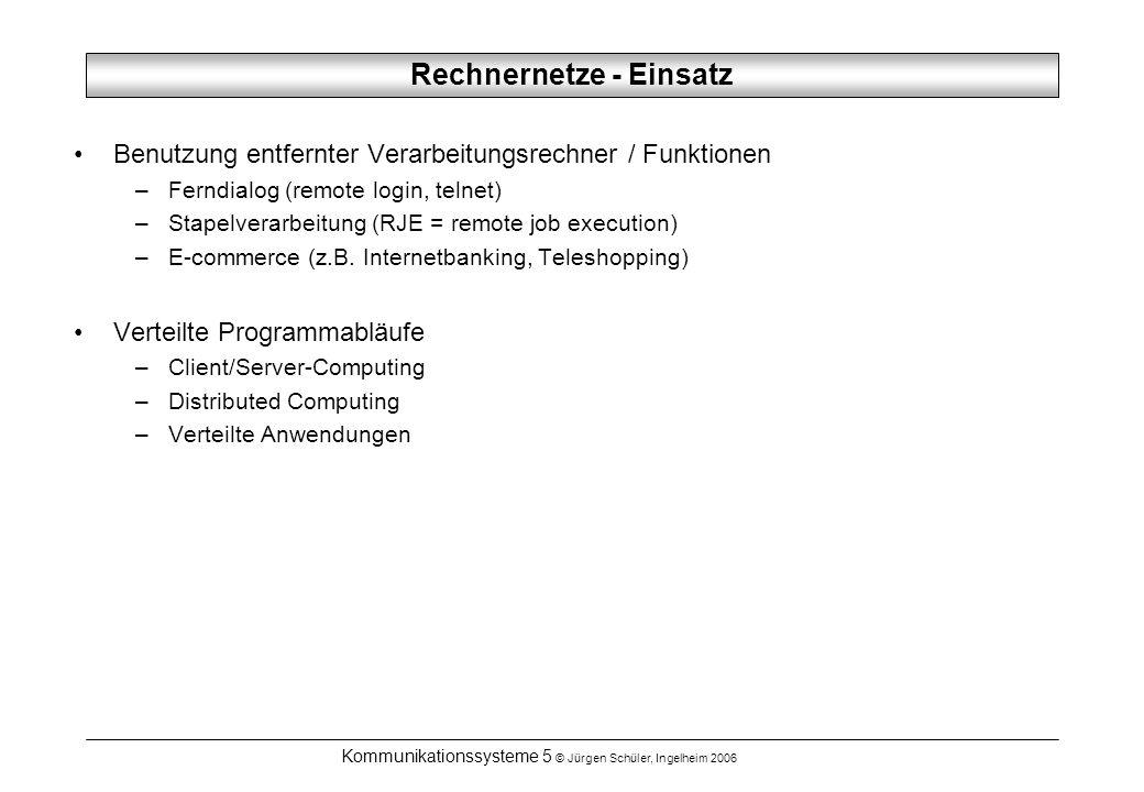 Kommunikationssysteme 5 © Jürgen Schüler, Ingelheim 2006 Rechnernetze - Einsatz Benutzung entfernter Verarbeitungsrechner / Funktionen –Ferndialog (re