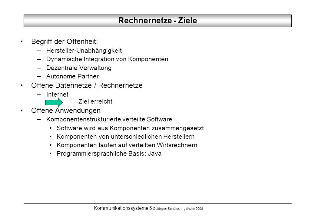 Kommunikationssysteme 5 © Jürgen Schüler, Ingelheim 2006 Rechnernetze - Ziele Begriff der Offenheit: –Hersteller-Unabhängigkeit –Dynamische Integratio