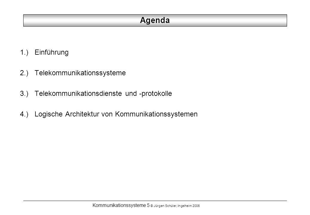 Kommunikationssysteme 5 © Jürgen Schüler, Ingelheim 2006 Agenda 1.) Einführung 2.) Telekommunikationssysteme 3.) Telekommunikationsdienste und -protok