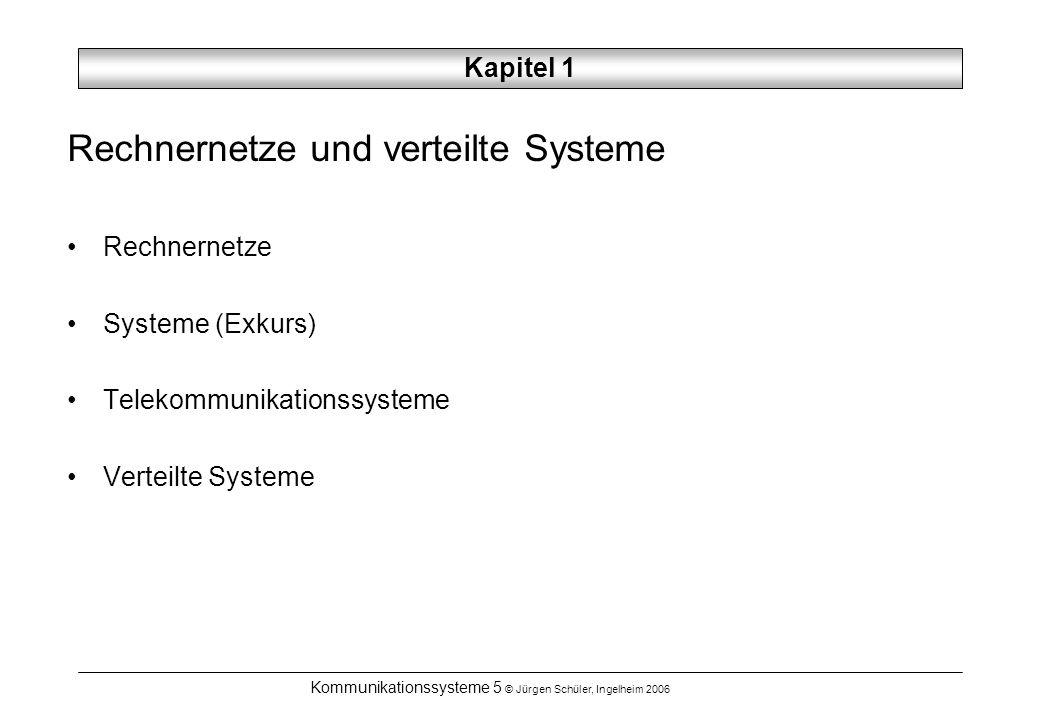 Kommunikationssysteme 5 © Jürgen Schüler, Ingelheim 2006 Kapitel 1 Rechnernetze und verteilte Systeme Rechnernetze Systeme (Exkurs) Telekommunikations