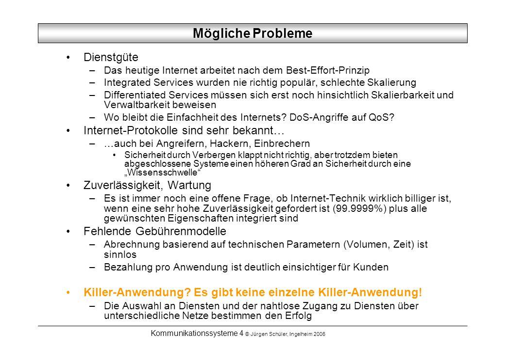 Kommunikationssysteme 4 © Jürgen Schüler, Ingelheim 2006 Mögliche Probleme Dienstgüte –Das heutige Internet arbeitet nach dem Best-Effort-Prinzip –Int