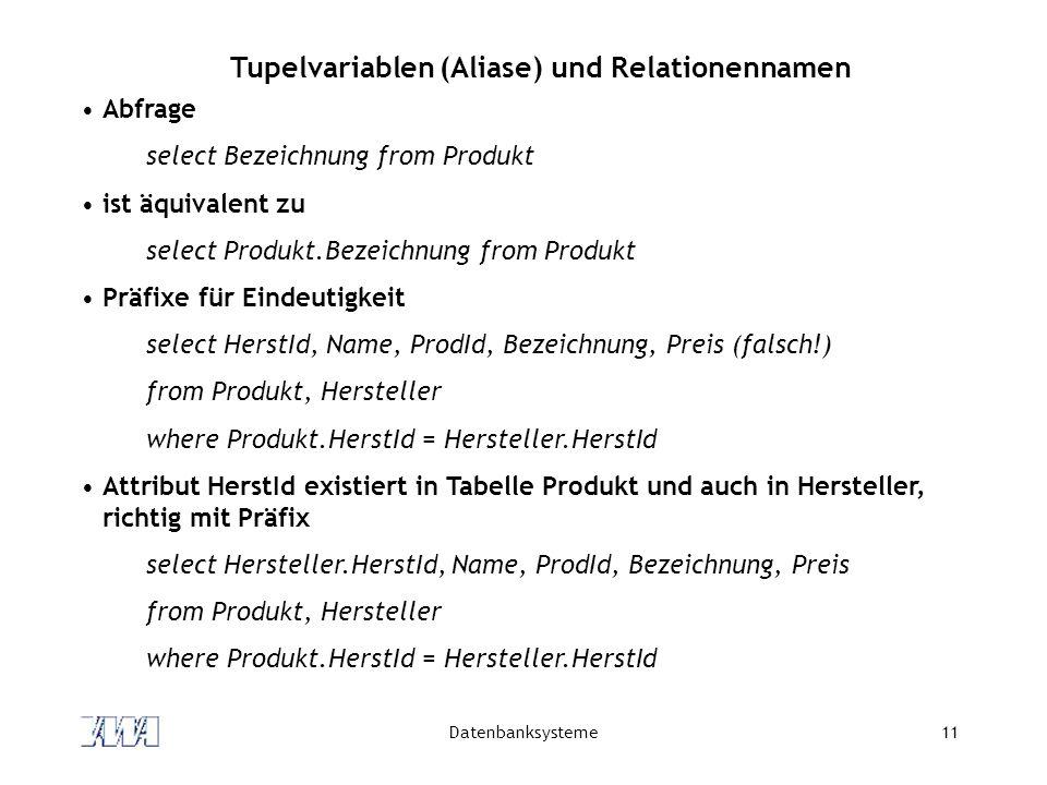 Datenbanksysteme11 Tupelvariablen (Aliase) und Relationennamen Abfrage select Bezeichnung from Produkt ist äquivalent zu select Produkt.Bezeichnung fr