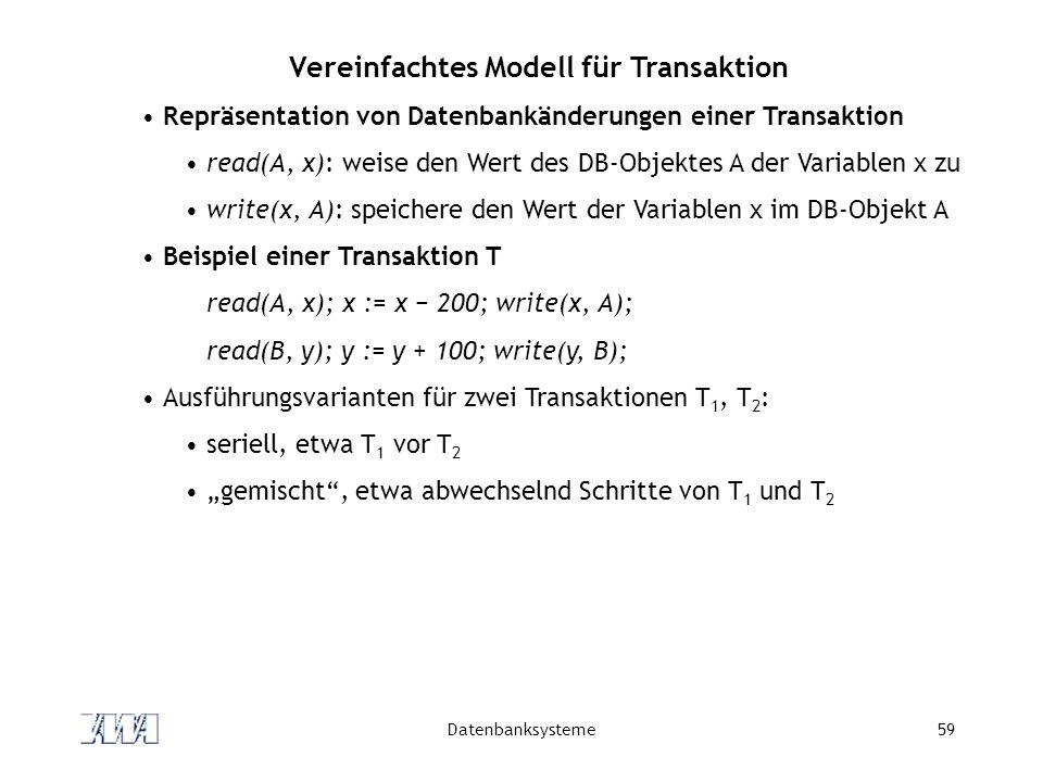 Datenbanksysteme59 Vereinfachtes Modell für Transaktion Repräsentation von Datenbankänderungen einer Transaktion read(A, x): weise den Wert des DB-Obj
