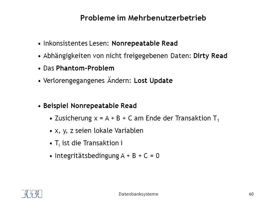 Datenbanksysteme60 Probleme im Mehrbenutzerbetrieb Inkonsistentes Lesen: Nonrepeatable Read Abhängigkeiten von nicht freigegebenen Daten: Dirty Read D