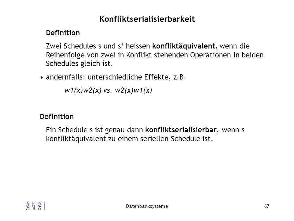 Datenbanksysteme67 Konfliktserialisierbarkeit Definition Zwei Schedules s und s heissen konfliktäquivalent, wenn die Reihenfolge von zwei in Konflikt