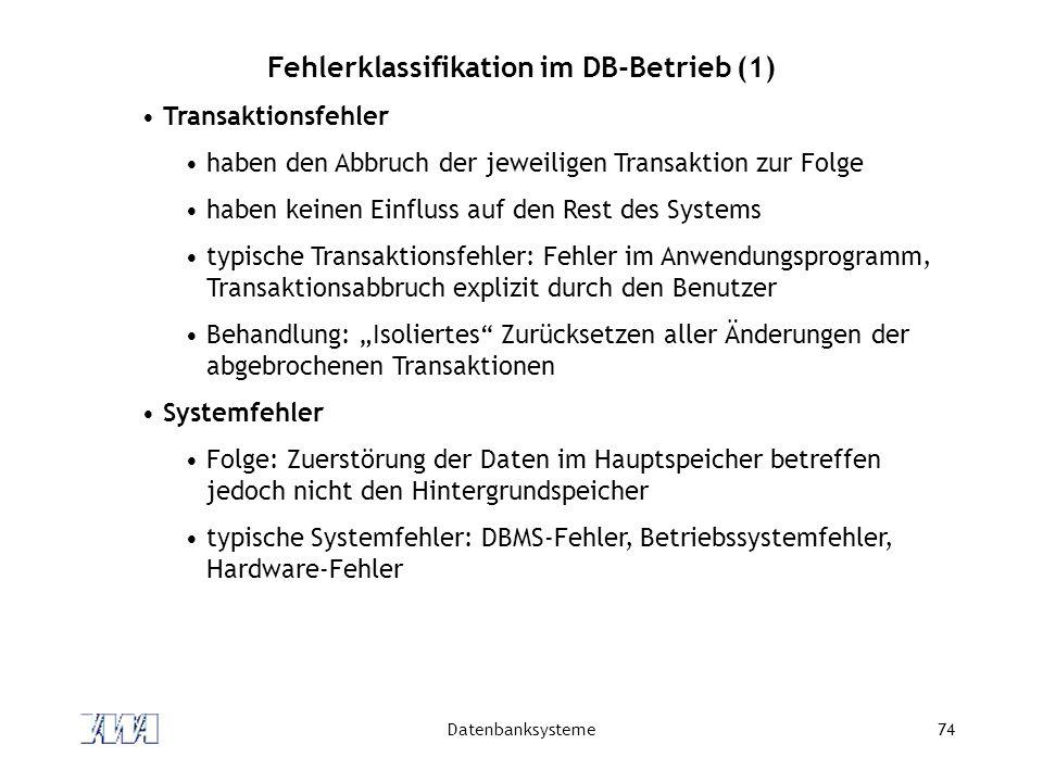 Datenbanksysteme74 Fehlerklassifikation im DB-Betrieb (1) Transaktionsfehler haben den Abbruch der jeweiligen Transaktion zur Folge haben keinen Einfl