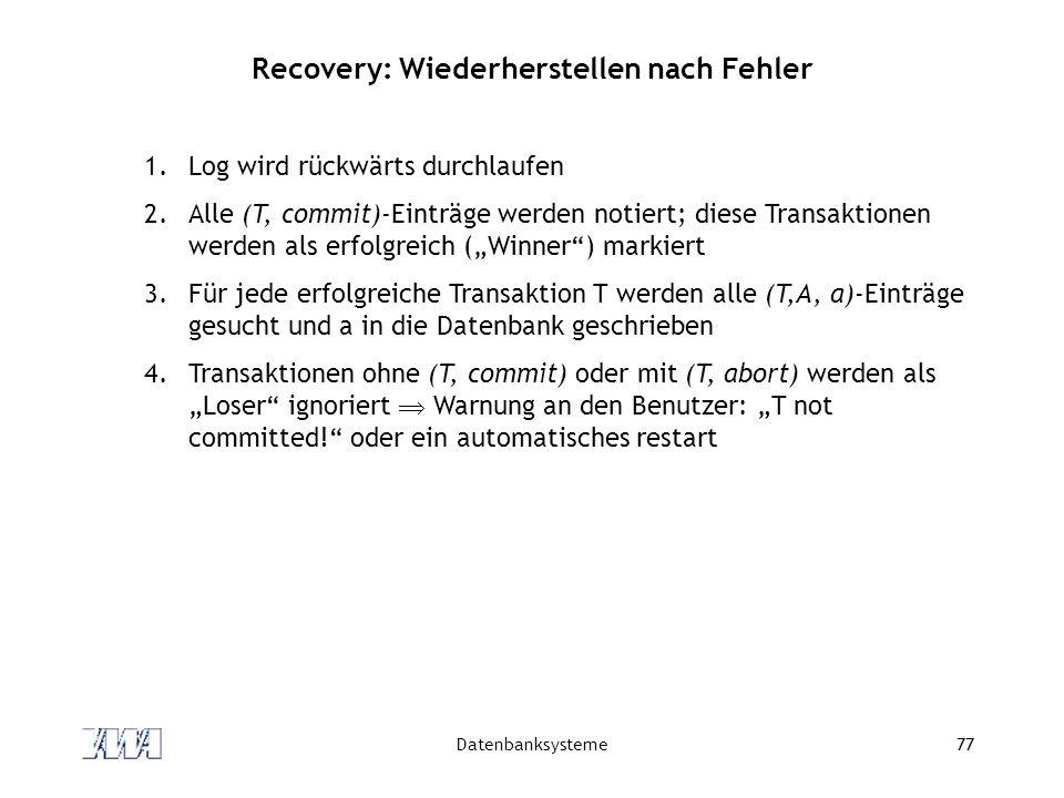 Datenbanksysteme77 Recovery: Wiederherstellen nach Fehler 1.Log wird rückwärts durchlaufen 2.Alle (T, commit)-Einträge werden notiert; diese Transakti
