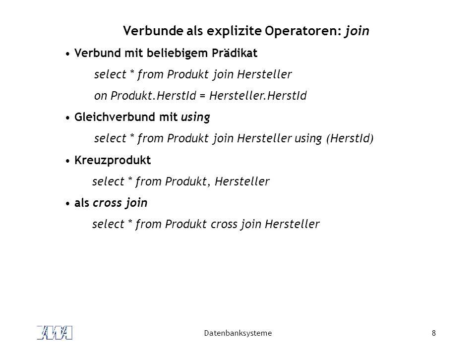 Datenbanksysteme19 Mengenoperationen im neuen SQL Vereinigung, Durchschnitt und Differenz als union, intersect und except orthogonal einsetzbar select count(*) from ( (select Name, Vorname, Ort, PLZ, Strasse from Kunde) union (select Name, Vorname, Ort, PLZ, Strasse from Adresse) )