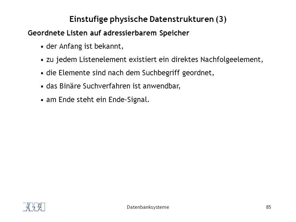 Datenbanksysteme85 Einstufige physische Datenstrukturen (3) Geordnete Listen auf adressierbarem Speicher der Anfang ist bekannt, zu jedem Listenelemen