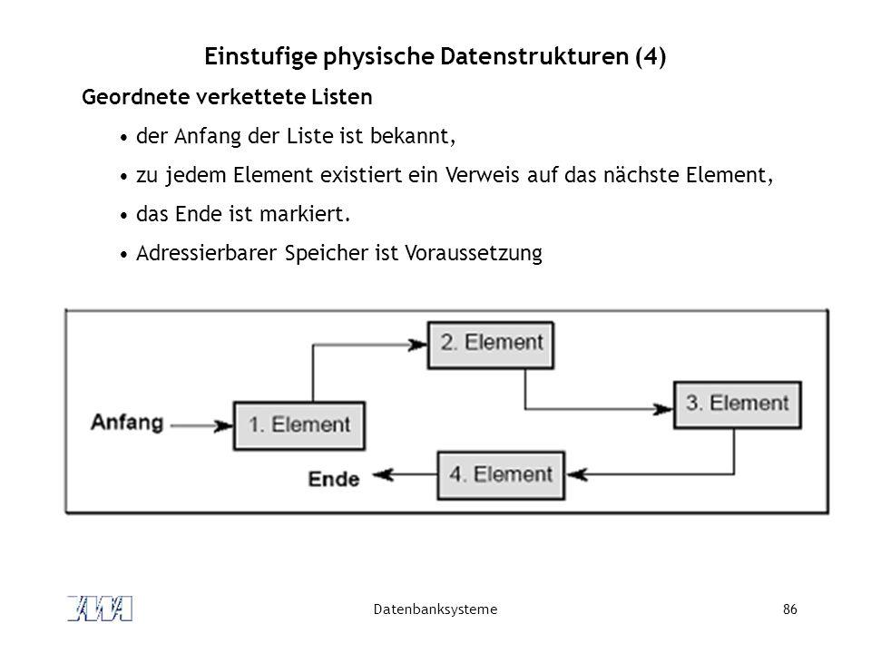 Datenbanksysteme86 Einstufige physische Datenstrukturen (4) Geordnete verkettete Listen der Anfang der Liste ist bekannt, zu jedem Element existiert e