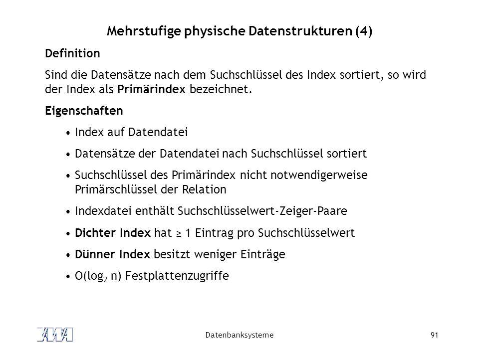 Datenbanksysteme91 Mehrstufige physische Datenstrukturen (4) Definition Sind die Datensätze nach dem Suchschlüssel des Index sortiert, so wird der Ind