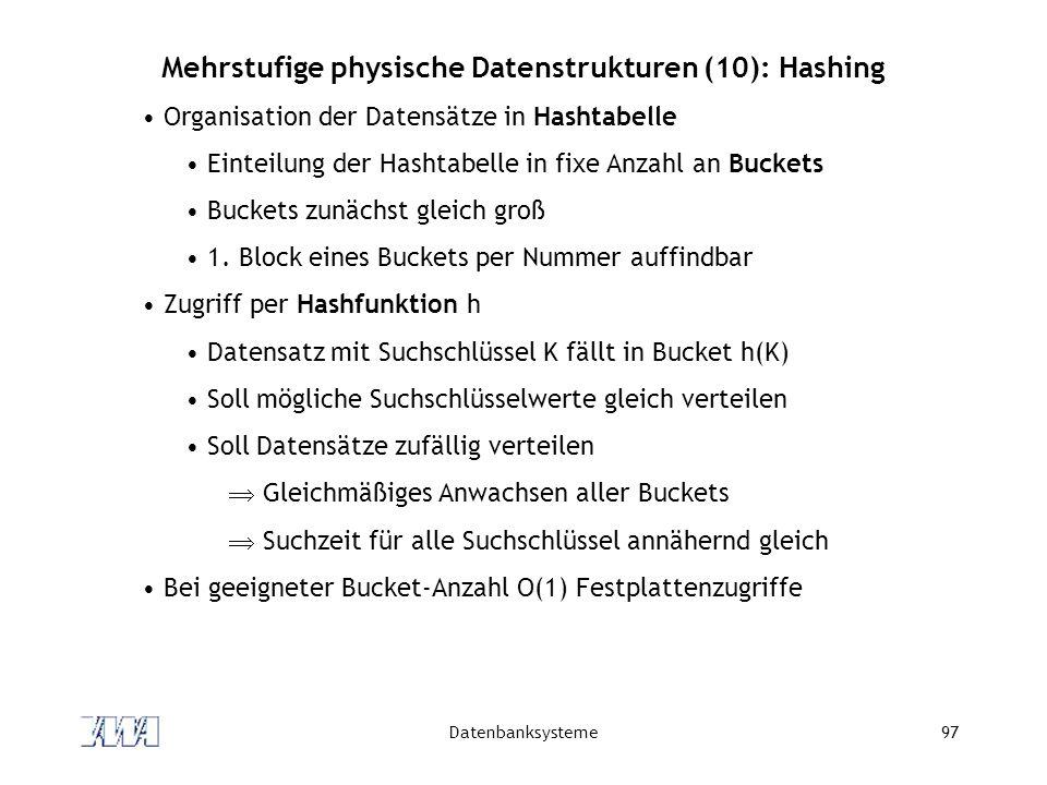 Datenbanksysteme97 Mehrstufige physische Datenstrukturen (10): Hashing Organisation der Datensätze in Hashtabelle Einteilung der Hashtabelle in fixe A