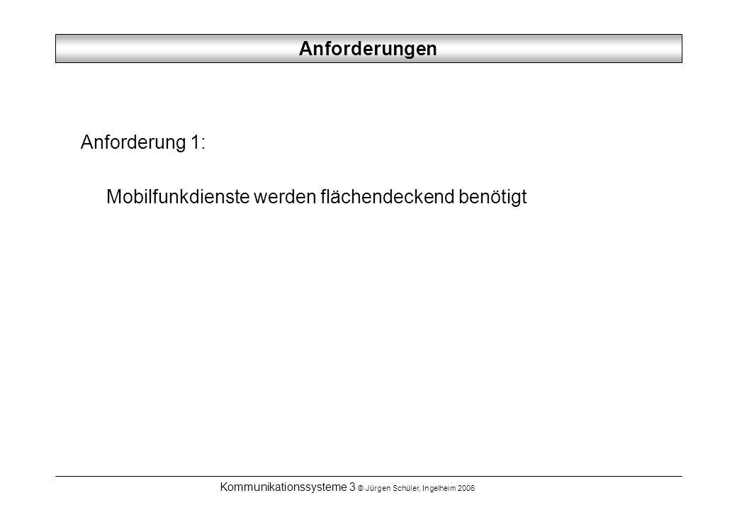 Kommunikationssysteme 3 © Jürgen Schüler, Ingelheim 2006 Anforderungen Anforderung 1: Mobilfunkdienste werden flächendeckend benötigt