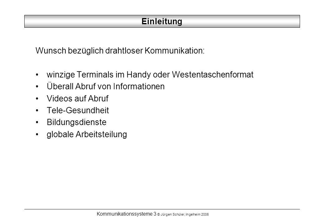 Kommunikationssysteme 3 © Jürgen Schüler, Ingelheim 2006 Internet Push Dienst vom Provider aufbereitete Menge an Web-Seiten und Daten Übertragung in einem Proxy-Format via Satellite Laden auf den lokalen Massenspeicher bei geeigneter Proxy-Konfiguration schneller Zugriff auf Seiten Diskos NetSat Skycom Luxemburg