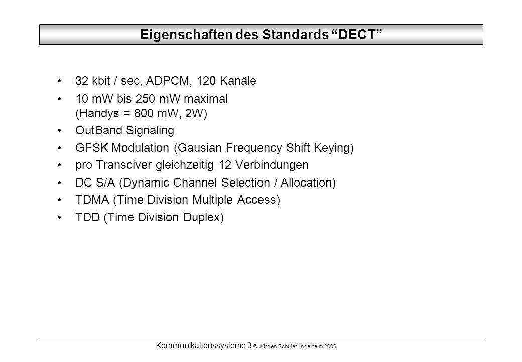 Kommunikationssysteme 3 © Jürgen Schüler, Ingelheim 2006 Eigenschaften des Standards DECT 32 kbit / sec, ADPCM, 120 Kanäle 10 mW bis 250 mW maximal (Handys = 800 mW, 2W) OutBand Signaling GFSK Modulation (Gausian Frequency Shift Keying) pro Transciver gleichzeitig 12 Verbindungen DC S/A (Dynamic Channel Selection / Allocation) TDMA (Time Division Multiple Access) TDD (Time Division Duplex)