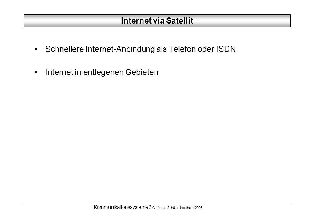 Kommunikationssysteme 3 © Jürgen Schüler, Ingelheim 2006 Internet via Satellit Schnellere Internet-Anbindung als Telefon oder ISDN Internet in entlegenen Gebieten