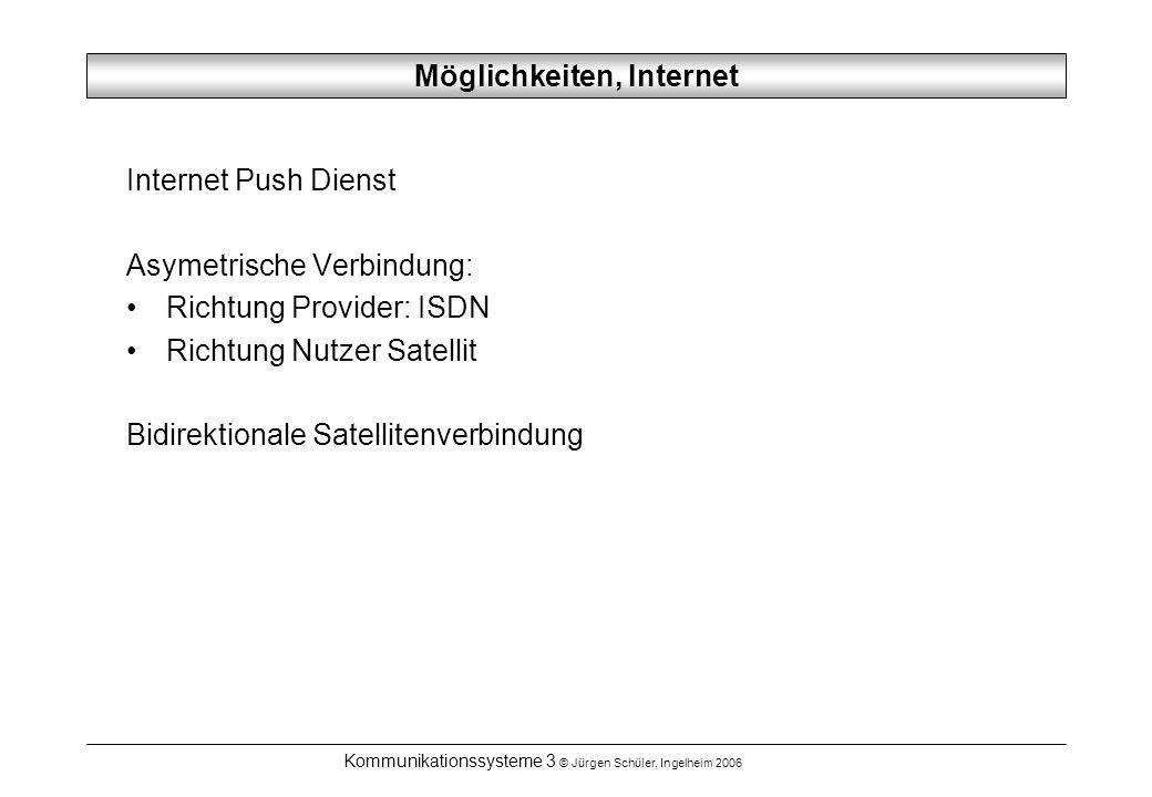 Kommunikationssysteme 3 © Jürgen Schüler, Ingelheim 2006 Möglichkeiten, Internet Internet Push Dienst Asymetrische Verbindung: Richtung Provider: ISDN Richtung Nutzer Satellit Bidirektionale Satellitenverbindung