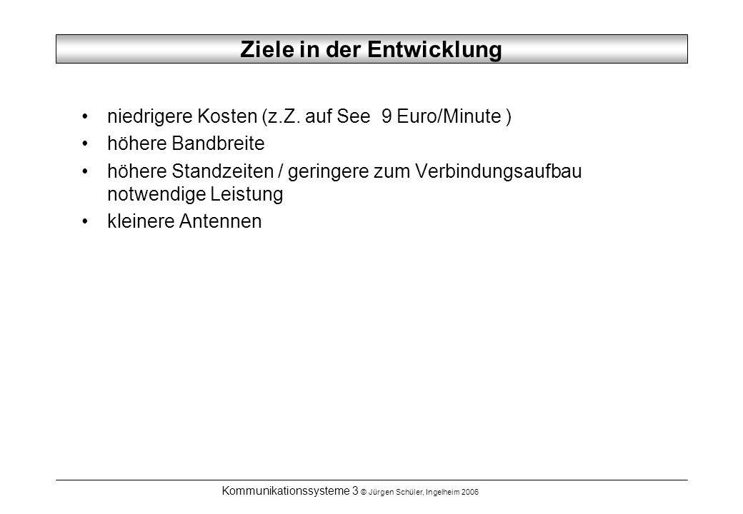 Kommunikationssysteme 3 © Jürgen Schüler, Ingelheim 2006 Ziele in der Entwicklung niedrigere Kosten (z.Z.