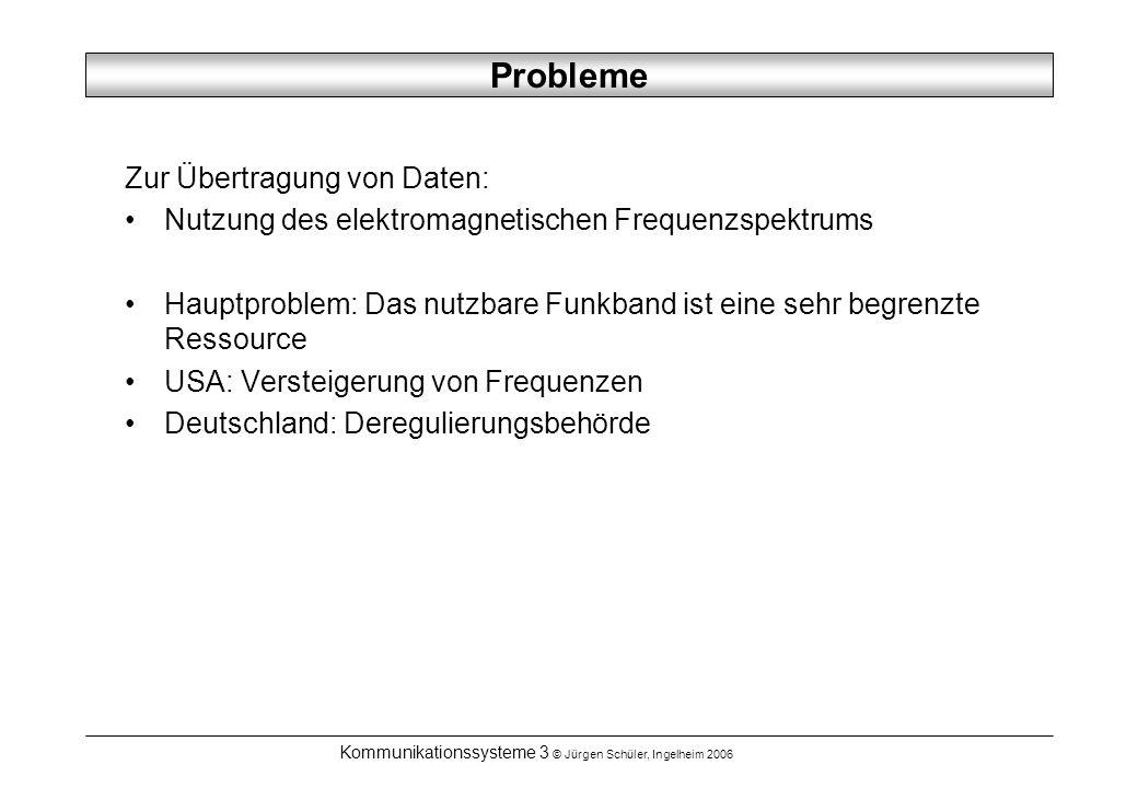 Kommunikationssysteme 3 © Jürgen Schüler, Ingelheim 2006 Anforderungen Anforderung 3: niedrige Kosten erfordern eine Funk-Technik, die Frequenzen effizient nutzt