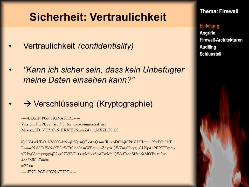 Sicherheit: Vertraulichkeit Thema: Firewall Einleitung Angriffe Firewall-Architekturen Auditing Schlussteil Vertraulichkeit (confidentiality)
