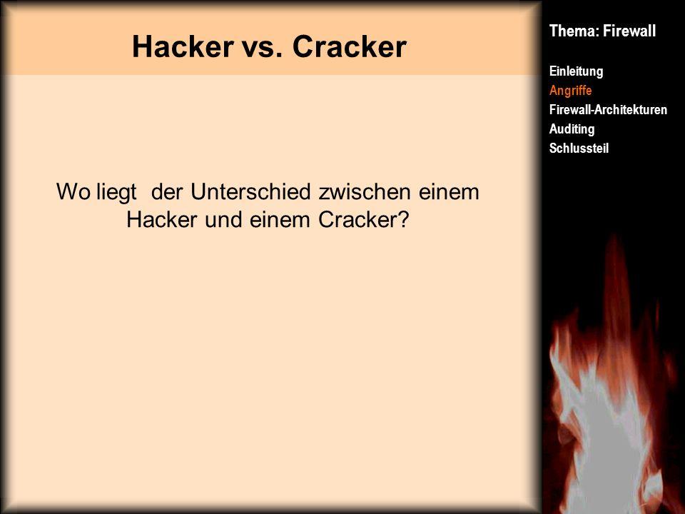Hacker vs. Cracker Thema: Firewall Einleitung Angriffe Firewall-Architekturen Auditing Schlussteil Wo liegt der Unterschied zwischen einem Hacker und
