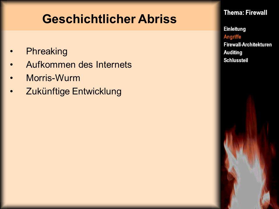 Geschichtlicher Abriss Thema: Firewall Einleitung Angriffe Firewall-Architekturen Auditing Schlussteil Phreaking Aufkommen des Internets Morris-Wurm Z