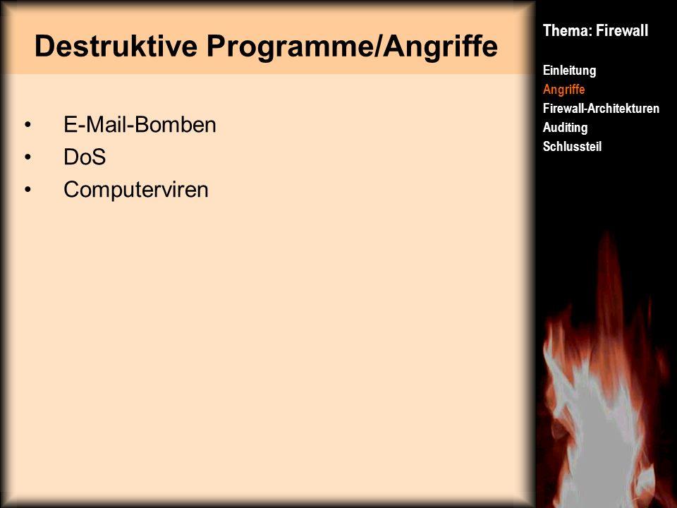 Destruktive Programme/Angriffe Thema: Firewall Einleitung Angriffe Firewall-Architekturen Auditing Schlussteil E-Mail-Bomben DoS Computerviren