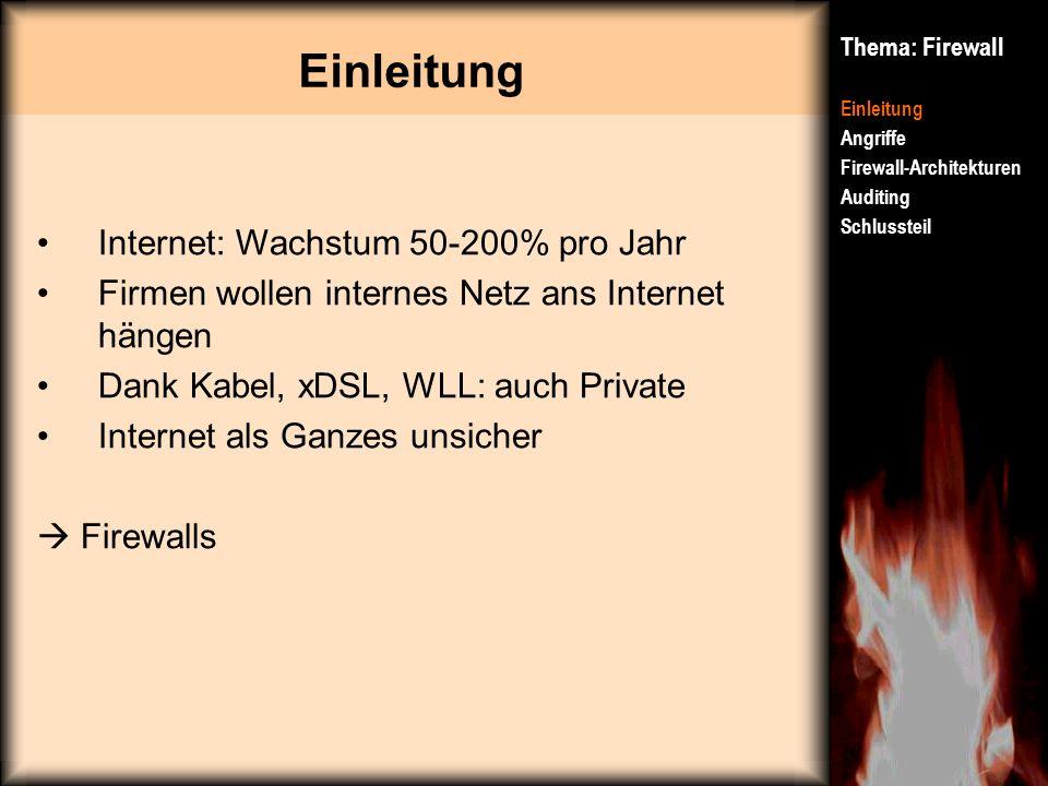 Einleitung Thema: Firewall Einleitung Angriffe Firewall-Architekturen Auditing Schlussteil Internet: Wachstum 50-200% pro Jahr Firmen wollen internes