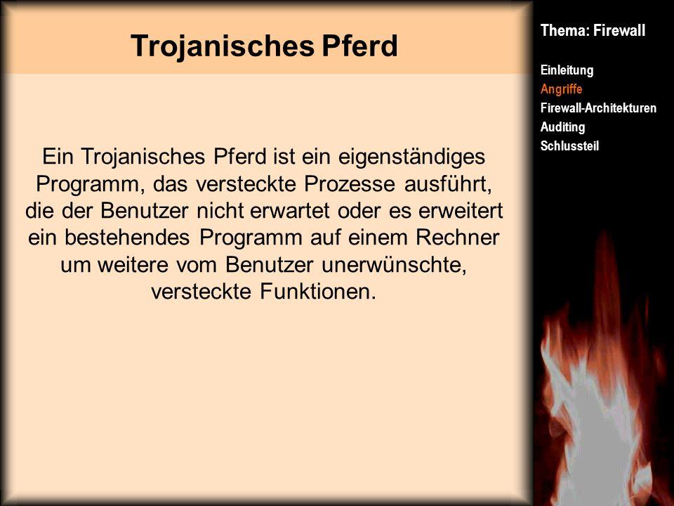 Trojanisches Pferd Thema: Firewall Einleitung Angriffe Firewall-Architekturen Auditing Schlussteil Ein Trojanisches Pferd ist ein eigenständiges Progr