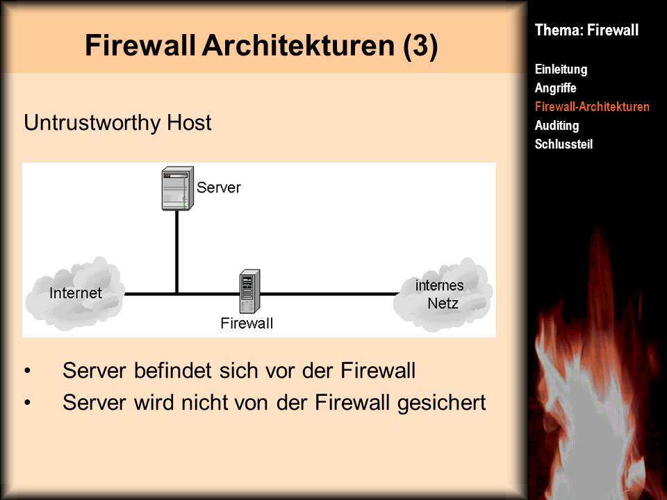 Firewall Architekturen (3) Thema: Firewall Einleitung Angriffe Firewall-Architekturen Auditing Schlussteil Untrustworthy Host Server befindet sich vor