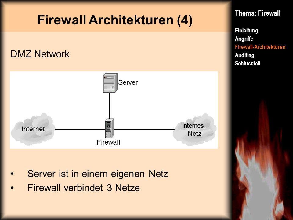 Firewall Architekturen (4) Thema: Firewall Einleitung Angriffe Firewall-Architekturen Auditing Schlussteil DMZ Network Server ist in einem eigenen Net