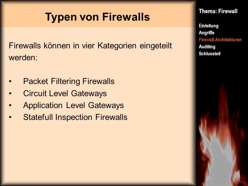 Typen von Firewalls Thema: Firewall Einleitung Angriffe Firewall-Architekturen Auditing Schlussteil Firewalls können in vier Kategorien eingeteilt wer