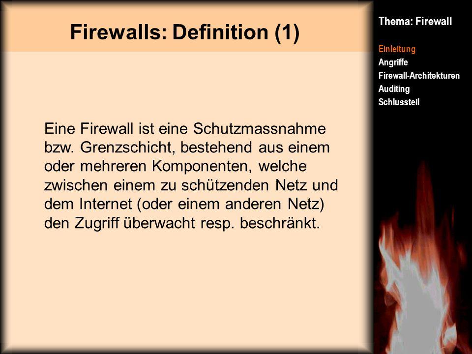 Firewalls: Definition (1) Thema: Firewall Einleitung Angriffe Firewall-Architekturen Auditing Schlussteil Eine Firewall ist eine Schutzmassnahme bzw.