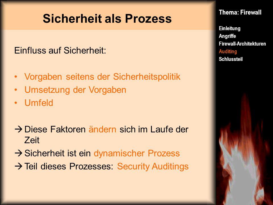 Sicherheit als Prozess Thema: Firewall Einleitung Angriffe Firewall-Architekturen Auditing Schlussteil Einfluss auf Sicherheit: Vorgaben seitens der S
