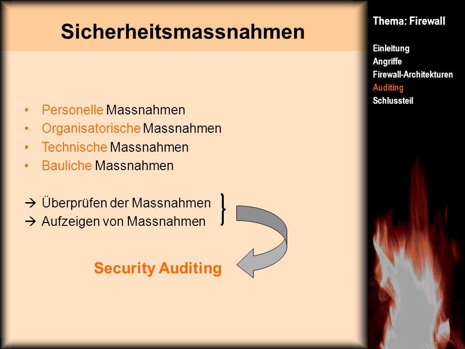 Sicherheitsmassnahmen Thema: Firewall Einleitung Angriffe Firewall-Architekturen Auditing Schlussteil Personelle Massnahmen Organisatorische Massnahme