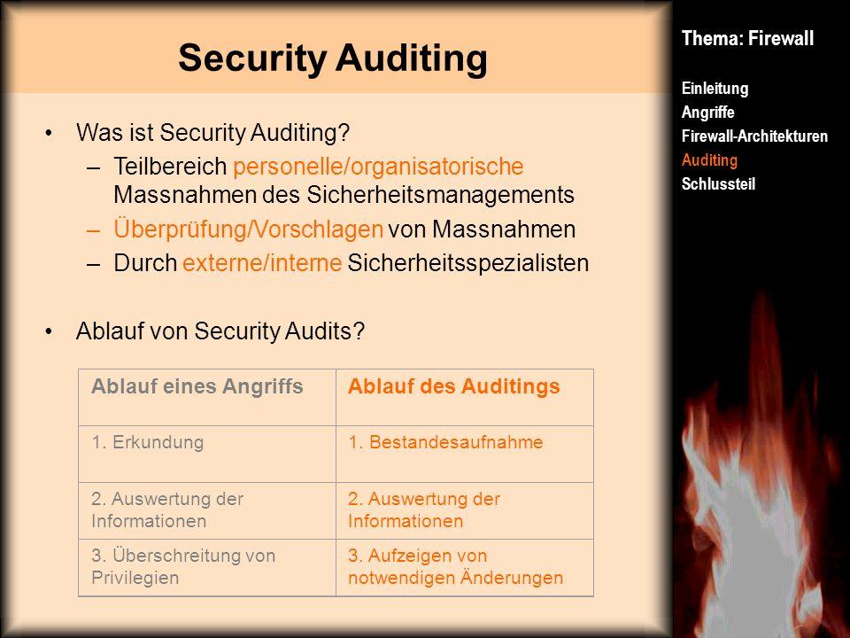 Thema: Firewall Einleitung Angriffe Firewall-Architekturen Auditing Schlussteil Was ist Security Auditing? –Teilbereich personelle/organisatorische Ma