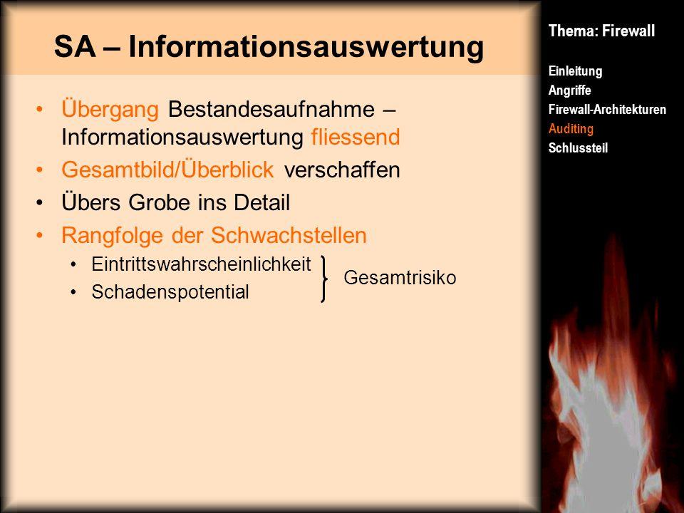 SA – Informationsauswertung Thema: Firewall Einleitung Angriffe Firewall-Architekturen Auditing Schlussteil Übergang Bestandesaufnahme – Informationsa
