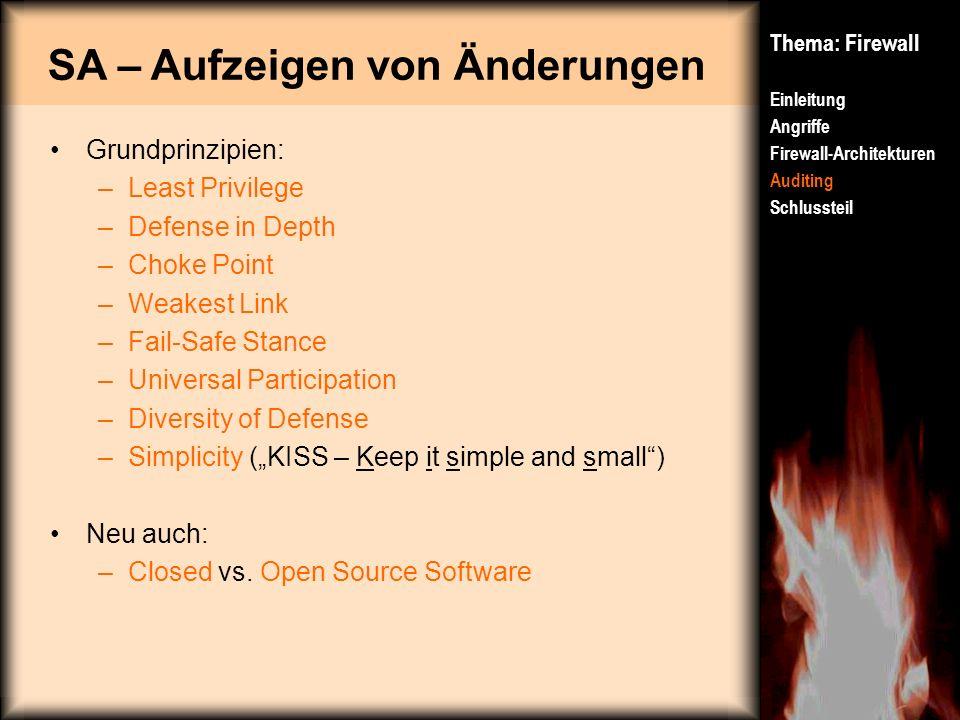 SA – Aufzeigen von Änderungen Thema: Firewall Einleitung Angriffe Firewall-Architekturen Auditing Schlussteil Grundprinzipien: –Least Privilege –Defen