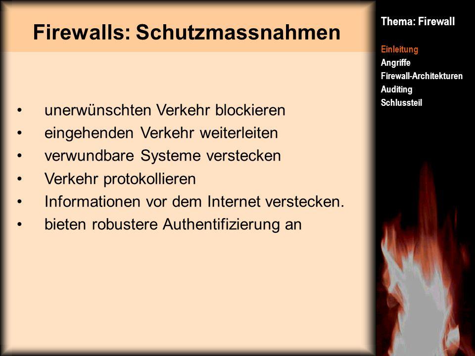 Firewalls: Schutzmassnahmen Thema: Firewall Einleitung Angriffe Firewall-Architekturen Auditing Schlussteil unerwünschten Verkehr blockieren eingehend