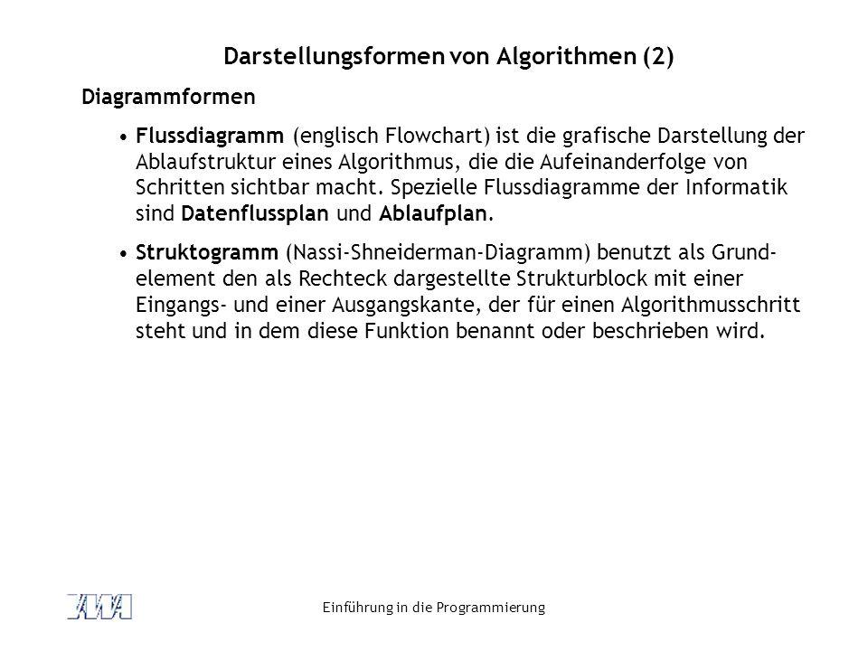 Einführung in die Programmierung Darstellungsformen von Algorithmen (2) Diagrammformen Flussdiagramm (englisch Flowchart) ist die grafische Darstellung der Ablaufstruktur eines Algorithmus, die die Aufeinanderfolge von Schritten sichtbar macht.