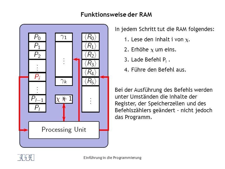 Einführung in die Programmierung Funktionsweise der RAM In jedem Schritt tut die RAM folgendes: 1.Lese den Inhalt i von. 2.Erhöhe um eins. 3.Lade Befe