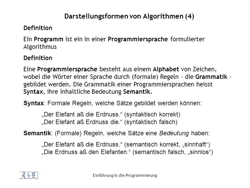 Einführung in die Programmierung Darstellungsformen von Algorithmen (4) Definition Ein Programm ist ein in einer Programmiersprache formulierter Algorithmus Definition Eine Programmiersprache besteht aus einem Alphabet von Zeichen, wobei die Wörter einer Sprache durch (formale) Regeln - die Grammatik - gebildet werden.