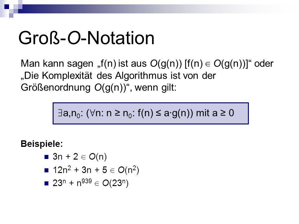 Groß-O-Notation a,n 0 : ( n: n n 0 : f(n) a·g(n)) mit a 0 Man kann sagen f(n) ist aus O(g(n)) [f(n) O(g(n))] oder Die Komplexität des Algorithmus ist